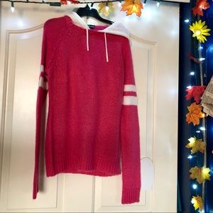 Pink Knit Sweater Hoodie